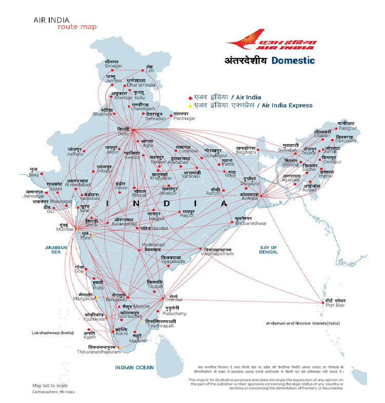 Air India Route Map Air India's Domestic Network   Air India