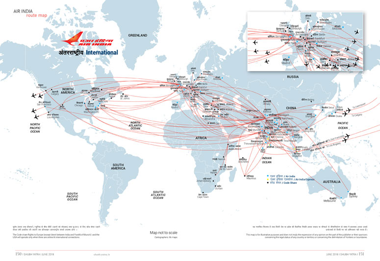 Air Indias International Network World Map Air India - Us airways direct flights map